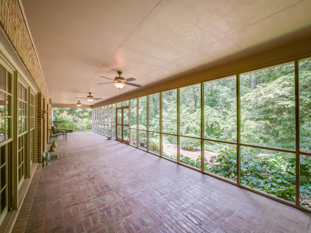 screened porch in Lookout Mountain home