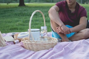 man having a picnic in a park