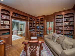 wood shelves in a home office